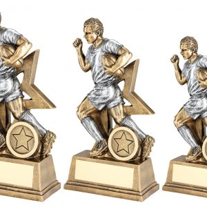 BRZ/PEW MALE RUGBY FIGURE WITH STAR BACKING TROPHY