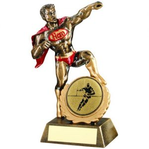 BRZ/GOLD/RED RESIN GENERIC 'HERO' AWARD WITH RUGBY INSERT – 7.25in