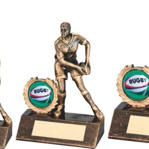 BRZ/GOLD RESIN MINI FEMALE RUGBY TROPHY