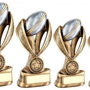 BRZ/PEW/GOLD RUGBY BALL AND BOOT ON MEDAL/RIBBON RISER TROPHY