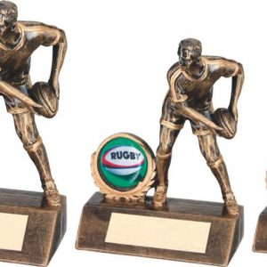 BRZ/GOLD RESIN MINI MALE RUGBY TROPHY