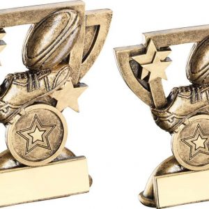BRZ/GOLD RUGBY MINI CUP TROPHY