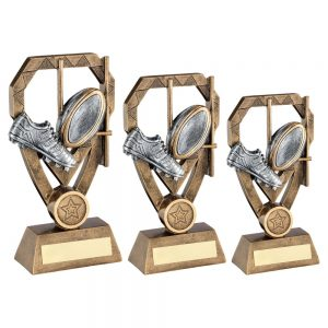 BRZ/PEW/GOLD RUGBY BOOT AND BALL WITH POSTS ON DIAMOND TROPHY
