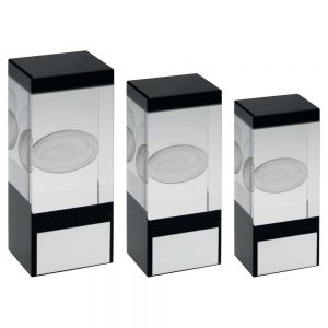 CLEAR/BLACK GLASS BLOCK WITH LASERED RUGBY IMAGE TROPHY – 4in