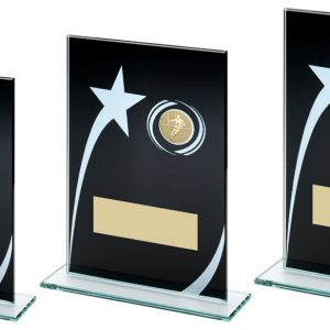 BLK/WHITE PRINTED GLASS PLAQUE WITH RUGBY INSERT TROPHY