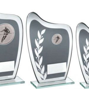 GREY/SILVER GLASS PLAQUE WITH RUGBY INSERT TROPHY