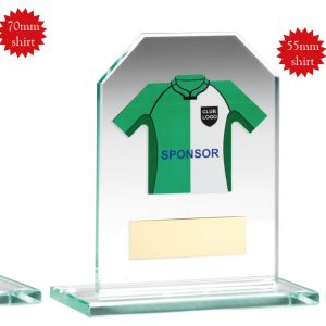 JADE GLASS PLAQUE WITH RUGBY SHIRT TROPHY