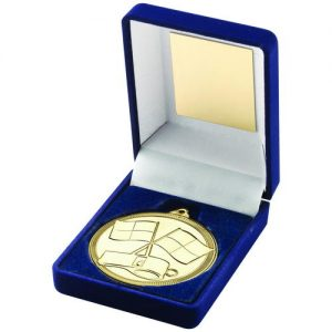 BLUE VELVET BOX AND MEDAL REFEREE TROPHY – GOLD – 3.5in