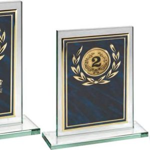 JADE GLASS PLAQUE WITH BLUE/GOLD ALUMINIUM FRONT TROPHY