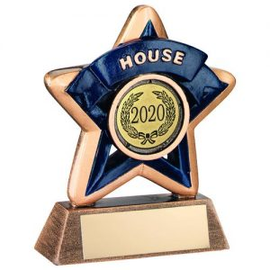 MINI STAR 'HOUSE' TROPHY – BRZ/GOLD/BLUE (1in CENTRE) 3.75in