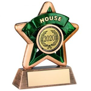 MINI STAR 'HOUSE' TROPHY – BRZ/GOLD/GREEN (1in CENTRE) 3.75in
