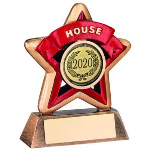 MINI STAR 'HOUSE' TROPHY – BRZ/GOLD/RED (1in CENTRE) 3.75in