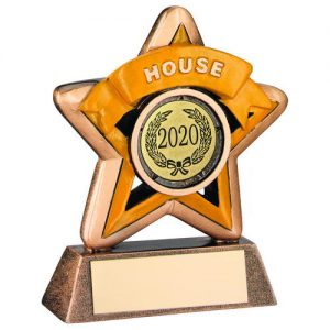 MINI STAR 'HOUSE' TROPHY – BRZ/GOLD/YELLOW (1in CENTRE) 3.75in
