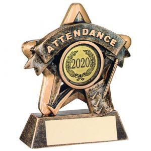 MINI STAR 'ATTENDANCE' TROPHY – BRZ/GOLD ATTENDANCE (1in CENTRE) 3.75in