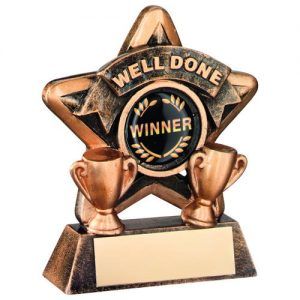 MINI STAR 'WELL DONE' TROPHY – BRZ/GOLD WELL DONE (1in CENTRE) 3.75in