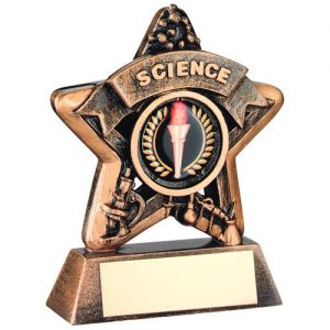 MINI STAR 'SCIENCE' TROPHY – BRZ/GOLD SCIENCE    (1in CENTRE) 3.75in