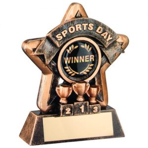 MINI STAR 'SPORTS DAY' TROPHY – BRZ/GOLD SPORTS DAY (1in CENTRE) 3.75in