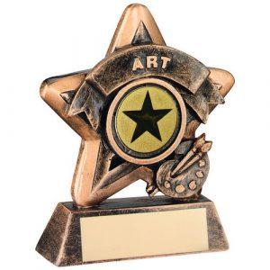 MINI STAR 'ART' TROPHY – BRZ/GOLD ART (1in CENTRE) 3.75in