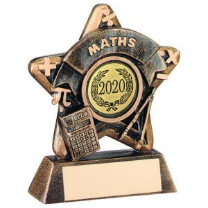 MINI STAR 'MATHS' TROPHY – BRZ/GOLD MATHS (1in CENTRE) 3.75in