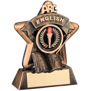MINI STAR 'ENGLISH' TROPHY – BRZ/GOLD ENGLISH     (1in CENTRE) 3.75in