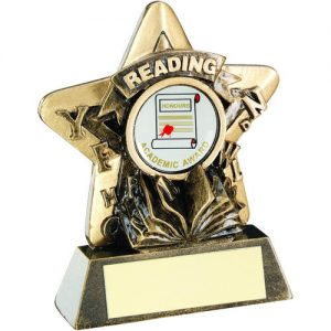 BRZ/GOLD READING MINI STAR TROPHY – (1in CENTRE) 3.75in