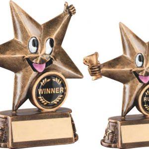 BRZ/GOLD RESIN GENERIC 'COMIC STAR' FIGURE TROPHY