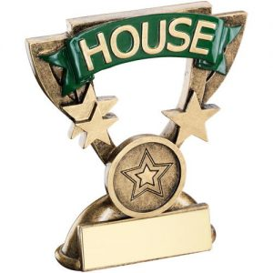 BRZ/GOLD SCHOOL HOUSE MINI CUP TROPHY – GREEN (1in CENTRE) 3.75in