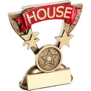 BRZ/GOLD SCHOOL HOUSE MINI CUP TROPHY – RED   (1in CENTRE) 3.75in