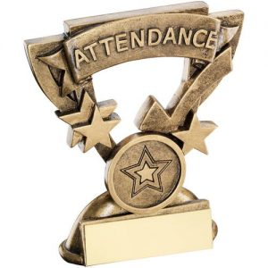 BRZ/GOLD ATTENDANCE MINI CUP TROPHY – (1in CENTRE) 3.75in