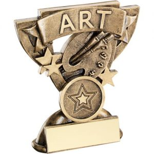 BRZ/GOLD ART MINI CUP TROPHY – (1in CENTRE)      3.75in