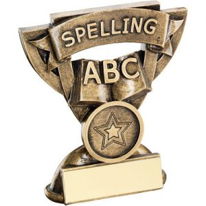 BRZ/GOLD SPELLING MINI CUP TROPHY – (1in CENTRE) 3.75in