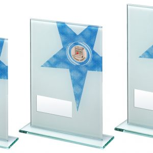 WHITE/BLUE PRINTED GLASS RECTANGLE WITH SCHOOL INSERT TROPHY