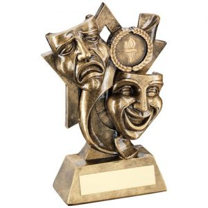BRZ/GOLD DRAMA MASKS ON STAR BACKDROP TROPHY – (1in CENTRE) 5.75in