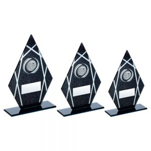 BLACK/SILVER PRINTED GLASS DIAMOND WITH QUIZ INSERT TROPHY