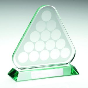JADE GLASS POOL/SNOOKER BALLS IN TRIANGLE TROPHY – 6.75in