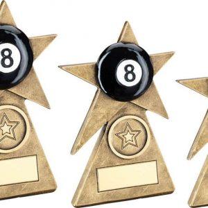 BRZ/GOLD/BLACK POOL STAR ON PYRAMID BASE TROPHY