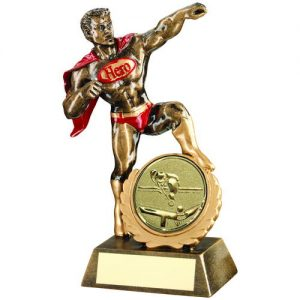 BRZ/GOLD/RED RESIN GENERIC 'HERO' AWARD WITH POOL/SNOOKER INSERT – 7.25in