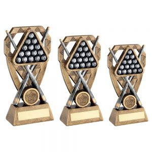 BRZ/PEW/GOLD POOL/SNOOKER BALLS WITH CUES ON DIAMOND TROPHY
