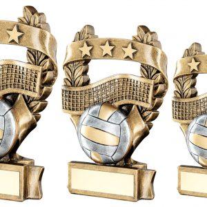 BRZ/PEW/GOLD VOLLEYBALL 3 STAR WREATH AWARD TROPHY
