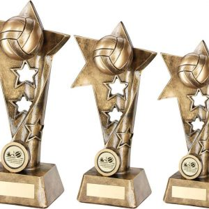 BRZ/GOLD VOLLEYBALL TWISTED STAR COLUMN TROPHY