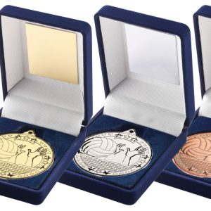 BLUE VELVET BOX AND 50mm MEDAL VOLLEYBALL TROPHY