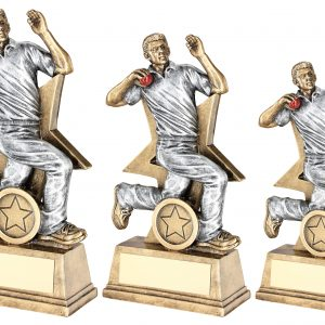BRZ/PEW/RED CRICKET BOWLER FIGURE WITH STAR BACKING TROPHY