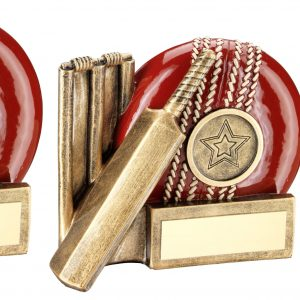 BRZ/RED CRICKET BALL, BAT AND STUMPS CHUNKY FLATBACK TROPHY