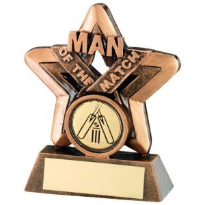 BRZ/GOLD MAN OF THE MATCH MINI STAR WITH CRICKET INSERT TROPHY – 3.75in