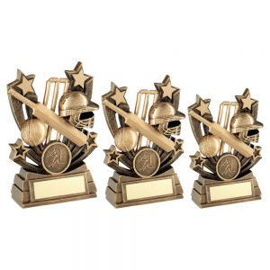 BRZ/GOLD SHOOTING STAR SERIES CRICKET TROPHY
