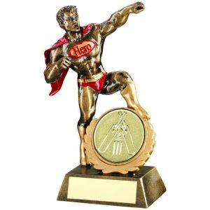 BRZ/GOLD/RED RESIN GENERIC 'HERO' AWARD WITH CRICKET INSERT – 7.25in