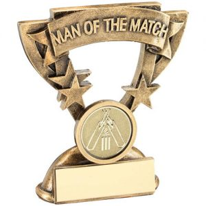 BRZ/GOLD MAN OF THE MATCH MINI CUP WITH CRICKET INSERT TROPHY – 3.75in