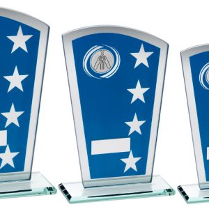 BLUE/SILVER PRINTED GLASS SHIELD WITH CRICKET INSERT TROPHY