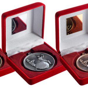 RED VELVET BOX AND 60mm MEDAL CRICKET TROPHY
