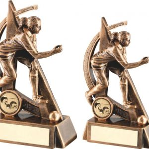 BRZ/GOLD FEMALE LAWN BOWLS GEO FIGURE TROPHY
